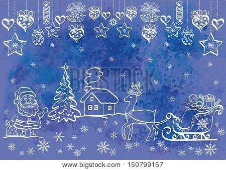 Christmas Background, Cartoon Santa Claus and Holiday Symbols and Decorations, White Contours on Blue Hand-Draw Watercolor Painting Pattern