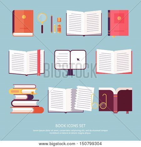 Vector book set icon in flat design style isolated. Icons set includes opened book stack of books e-learning notebook e-book etc.