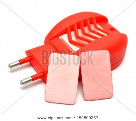 Anti-mosquito fumigator isolated on white background. Red.