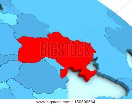 Ukraine In Red On Blue Globe