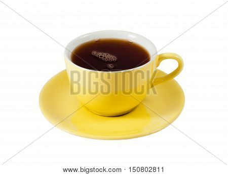 Yellow Cup of tea isolated on white background