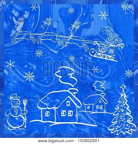 Christmas Holiday Symbols, Santa Claus in a Snowy Sky in a Sleigh with Reindeer on a Landscape with Christmas Tree, Snowman and Houses. White Contours on Blue Hand-Draw Watercolor Painting Background