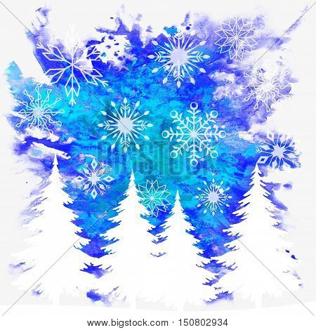 Christmas Background, Holiday Symbols, Fir Trees and Snowflakes White Contours on Blue Hand-Draw Watercolor Paintings