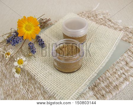 Homemade toothpaste with coconut oil, healing clay powder and soda
