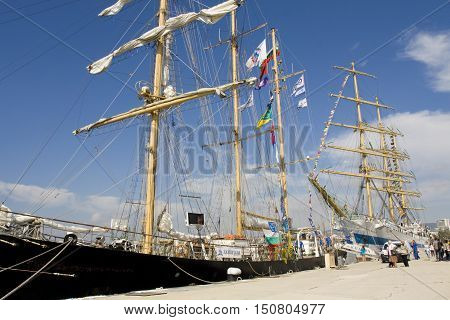 VARNA BULGARIA - OCTOBER 1 2016: opening of Black Sea Tall Ships Regatta Bulgarian and Russian sailing ships in port of town Varna.