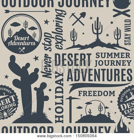 Typographic Vector Desert Adventures Seamless Pattern Or Background