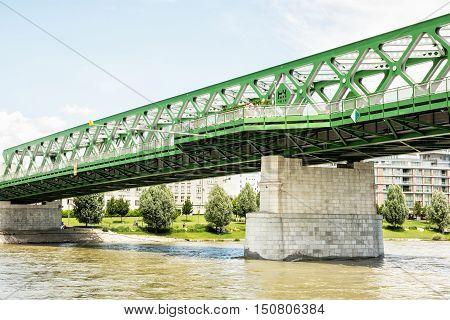 Bridge and Danube river in Bratislava Slovak republic. Architectural scene. Infrastructure theme.