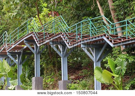 elevated pedestrian steel and board walkway at the Songkhla Zoo, Thailand
