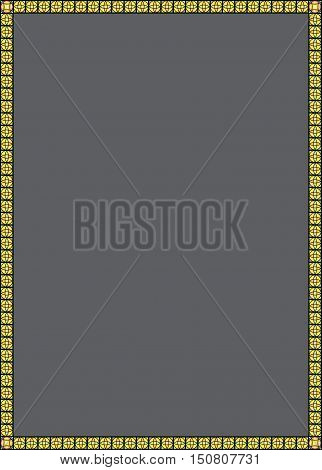 Grey background with yellow, notched frame. Vector graphics. Grey background for text. The gray background.