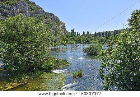 The 'Pearl Necklaces' cascade on the River Krka in Krka National Park Sibenik-Knin County Croatia.
