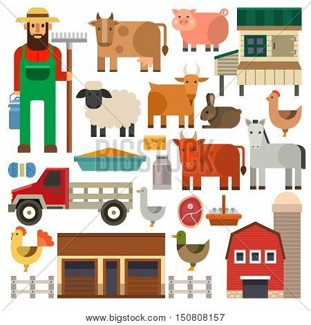 Agriculture farming icons harvesting collection milk food farmer set. Farm icons graphic vegetable growth harvesting collection. Farm icons organic food farmer harvest set vector illustration.
