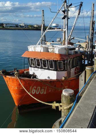 NAPIER NEW ZEALAND - JANUARY 4 2012: Fishing trawler in Ahuriri harbour a port for the fishing fleet at Napier on New Zealand's East coast