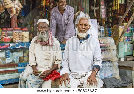 Chittagong Bangladesh February 25th 2016: old men in a market