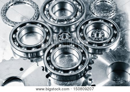 ball-bearings of titanium and steel, aerospace engineering parts
