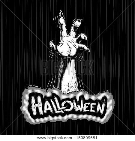 Zombie hand on Halloween; Vector background Eps8