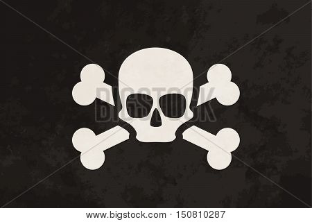 Pirate flag with skull and crossbones on grunge texture