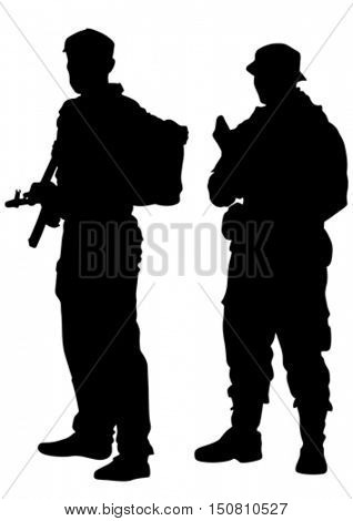 Modern soldiers in uniform on a white background