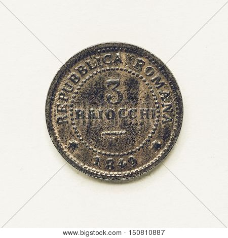 Vintage Old Italian Coin 3 Baiocchi