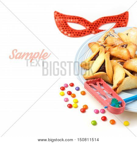 Hamantaschen cookies for Jewish holiday Purim on white background
