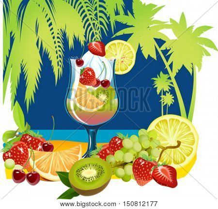 Summer Holidays Vector with Cocktail. Summer Beach Poster.