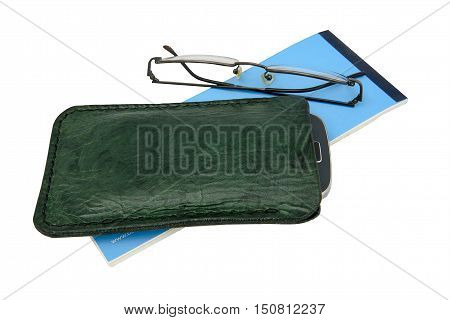 Handmade, green leather mobile case and spectacles with a blue cheque book