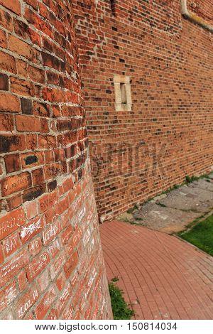 NIZHNIY NOVGOROD, RUSSIA - OCTOBER 8, 2016: Old red brick city wall part of rampart or vallum on 8 October, 2016 in Nizhniy Novgorod, Russia