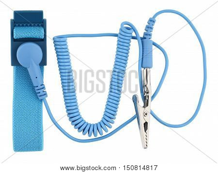 Antistatic wrist strap ESD wrist strap or ground bracelet is an antistatic device used to safely ground a person working on very sensitive electronic equipment. Object is isolated on white background without shadows.