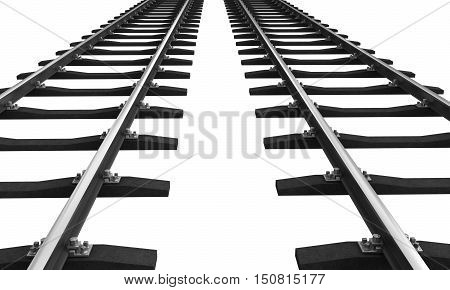 3d rendering of train rails isolated over white background