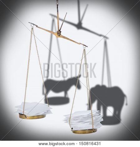 8 november USA election concept of ballot scale with heap paper blanks and shadow donkey elephant like metaphor close up
