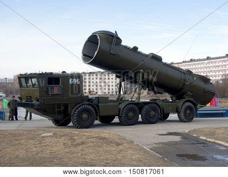 Gadjievo, Russia - May 09, 2015: Mobile missile complex