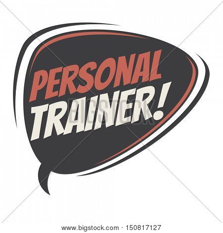 personal trainer retro speech balloon