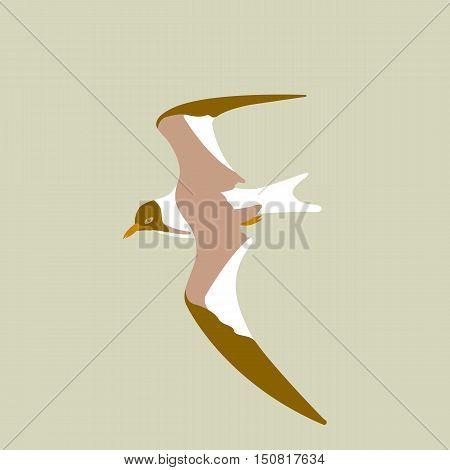Bird seagull flying vector illustration style Flat