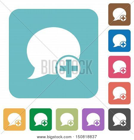Flat Post blog comment icons on rounded square color backgrounds.