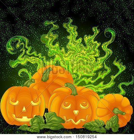 Halloween background design. Spooky halloween pumpkins on the magic foggy background. Vector illustration