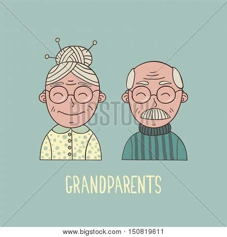 Cartoon smiling elderly retired couple. Grandparents with glasses. EPS10 vector illustration.