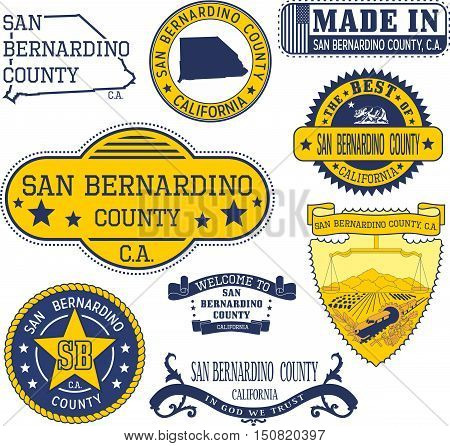 San Bernardino County, Ca. Set Of Stamps And Signs