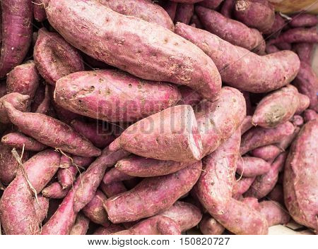 Group of fresh yam for sale on market.