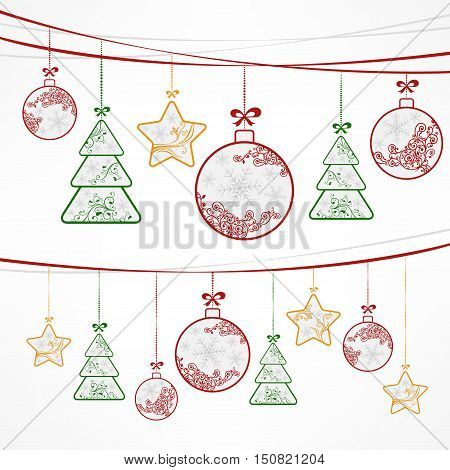 Christmas ornament decoration stars trees & balls on white. New Year design elements winter holiday background vector illustration