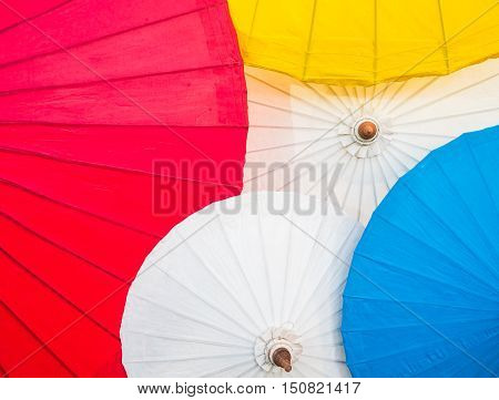 Background of colorful of paper umbrella handmade.