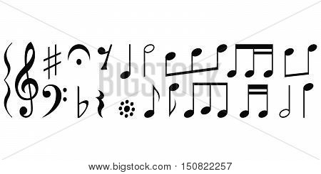 Notes and musical notations, set vector for print or website design
