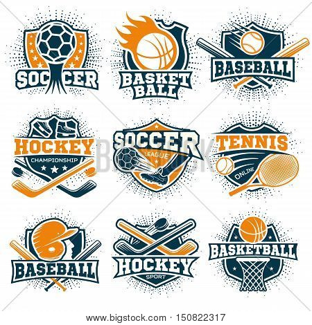 Set of nine isolated colorful sport logos representing different sport disciplines on blank background flat vector illustration