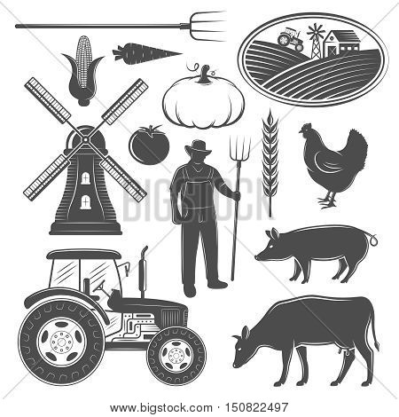 Farm monochrome elements set with man windmill and tractor animals and vegetables rural landscape isolated vector illustration