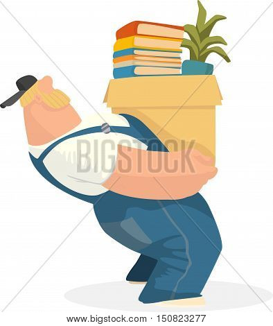 Working man carries a box of books and potted plant