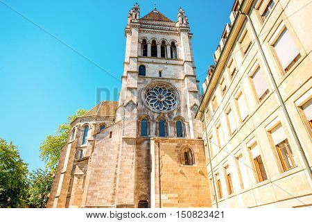 Saint Pierre church's bell tower in the old town of Geneva city in Switzerland
