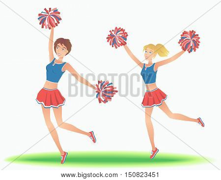 Cheerleaders with pom-poms. Girls support team dancing. Vector illustration.