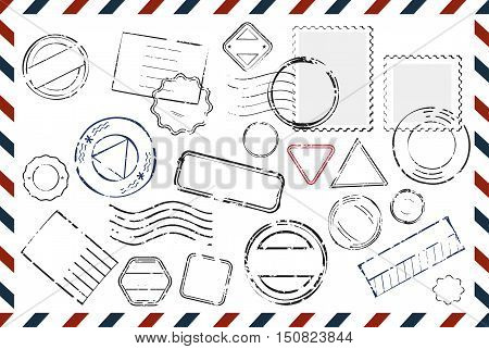 Composition with variety of stamps with place for text and postmarks on rectangular postal envelope flat vector illustration