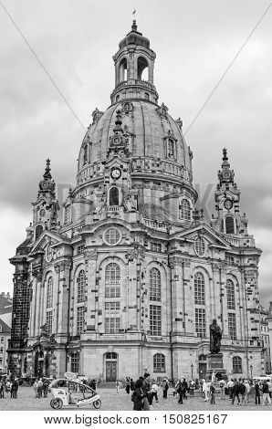 DRESDEN GERMANY- JUNE 20 2016: Frauenkirche (Church of Our lady) at Neumarkt Square. Black and white image