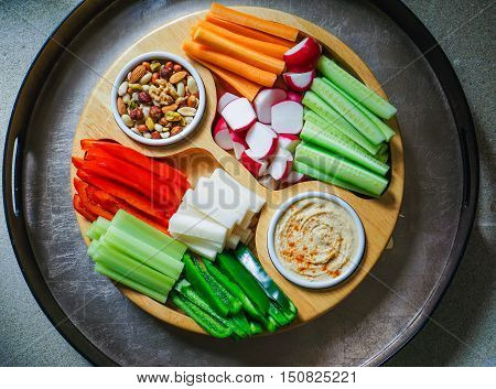 Vegetable Crudites and Dips/ vegetable vegan raw platter, healthy eating. Toning.