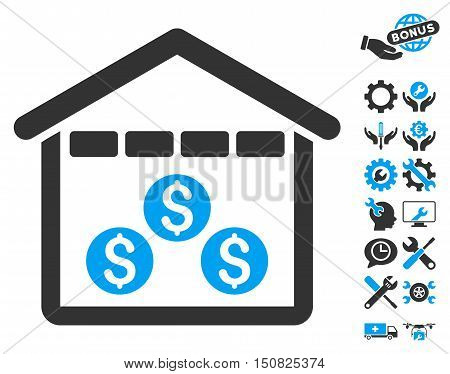 Money Depository pictograph with bonus tools pictograph collection. Vector illustration style is flat iconic bicolor symbols, blue and gray colors, white background.