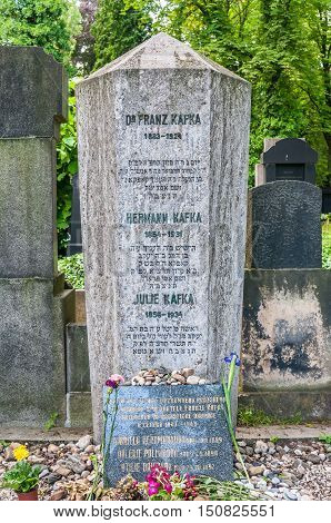 PRAGUE CZECH REPUBLIC - JUNE 21 2016: The burial place of famous writer Dr. Franz Kafka in New Jewish Cemetery
